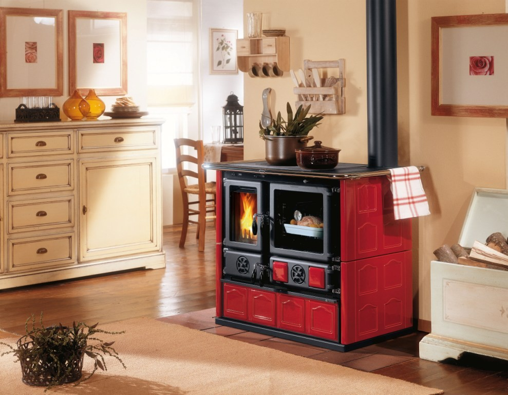 Wood cook stove la nordica rosa maiolica bordeaux for Stufe combinate legna pellet nordica