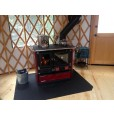 Wood burning cook stove in yurt